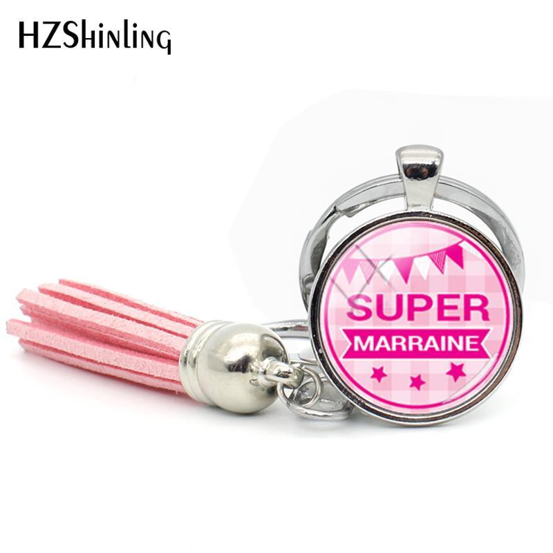 2018 New Super Marraine Tassel Keychain Meilleure Marraine Keychains Glass Cabochon Photo Jewelry Key Chain For A Woman Bag