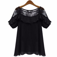 Lace Blouses Tops 2016 Summer Oversized ZANZEA Woman Sexy Casual Loose Blusas Short Sleeve Hollow Splice