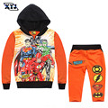 2016 Autumn Avengers Clothing Sets Orange Tracksuits For Boys Children Two-Piece Suit Zipper Hooded Outfit Sport Tracksuits
