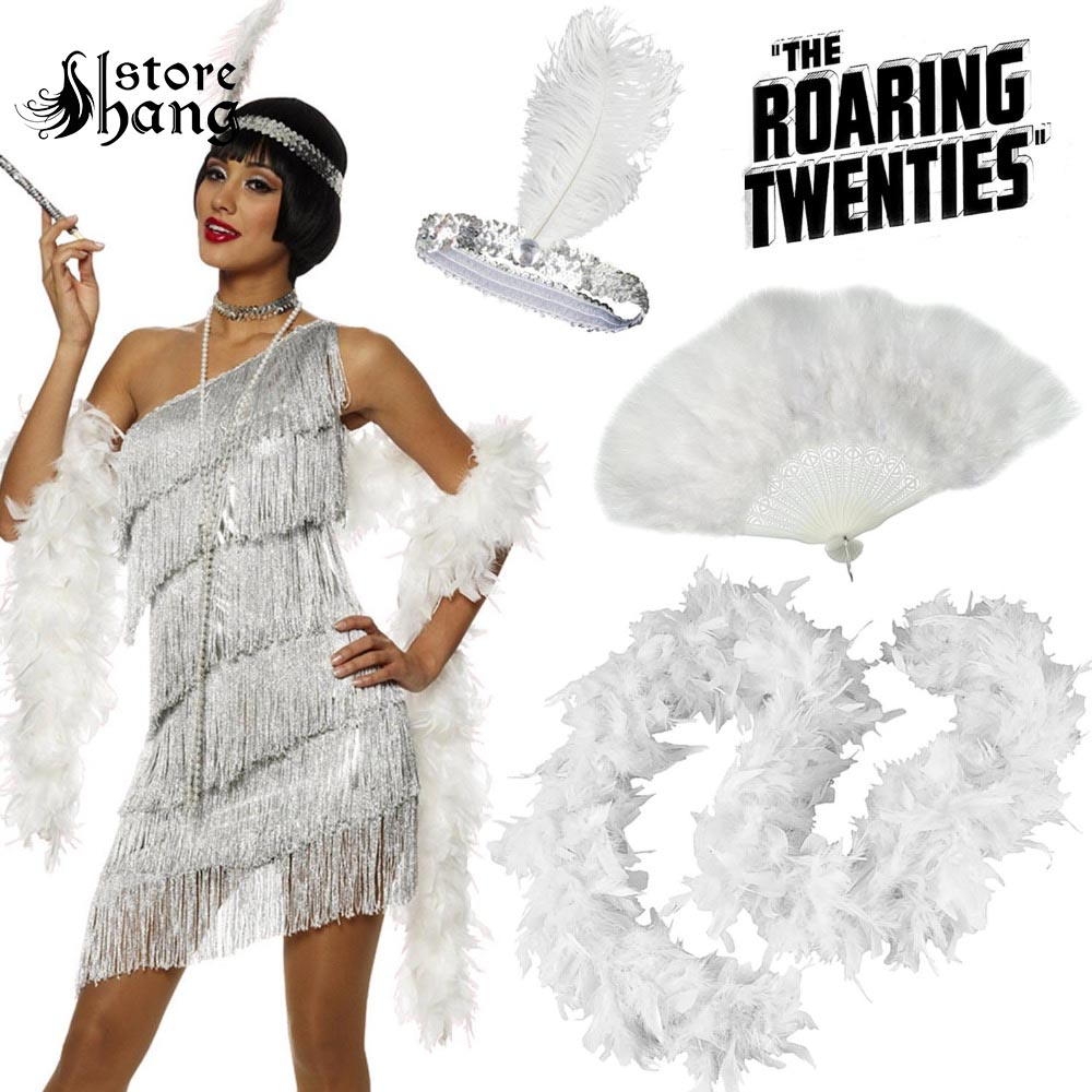Gatsby Ladies Flapper 20s Charleston Girl Fancy Dress Accessories Headband Feather Boa Hand Fan Flapper Costume Accessories Set