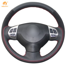 Black Genuine Leather Black Suede Car Steering Wheel Cover for Mitsubishi Lancer EX Outlander ASX Colt Pajero Sport