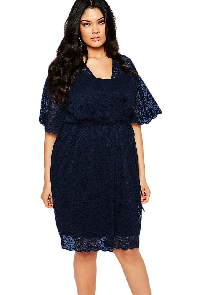 Women Plus Size Navy Blue Lace Wrap Dress 2017 Summer Lady Black
