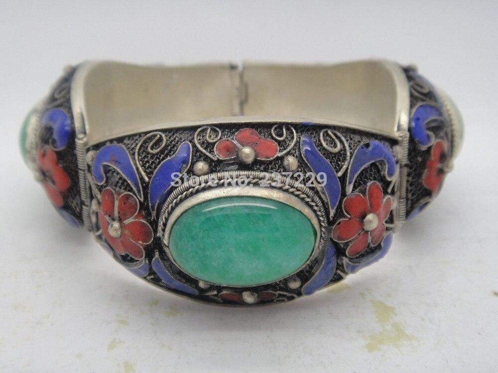 En gros ^ ^ incrustation de main chinoise naturel vert vieux tibet-bracelet cloisonné en émail argent