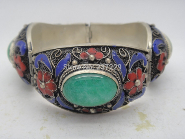 Whole Chinese Hand Inlay Natural Green Old Tibet Silver Enamel Cloisonne Bracelet