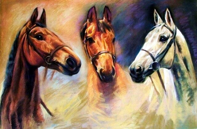 32 53 5 De Réduction Offre Spéciale Bonne Qualité Top Décor Art Animal Trois Chevaux Imprimer Peinture à L Huile Sur Toile Frais De Port Gratuits