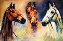 Special offer # good quality TOP Decor art – animal three horses print oil painting on canvas — free shipping cost