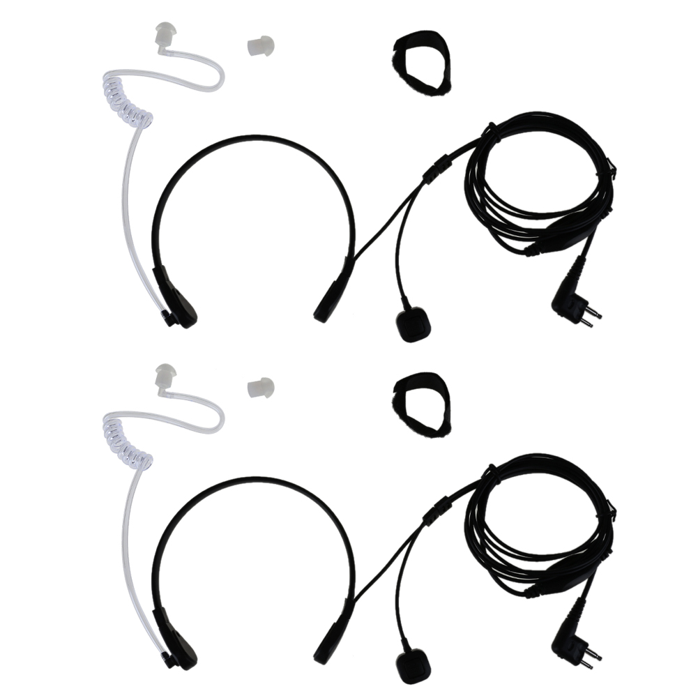 2pcs/pack PTT 2Pin Throat Mic Covert Acoustic Tube Earpiece Headset Radio Earphone for Motorola radios headset 2 pin air tube earpiece ptt mic covert acoustic tube earphone for baofeng retevis radios l3fe
