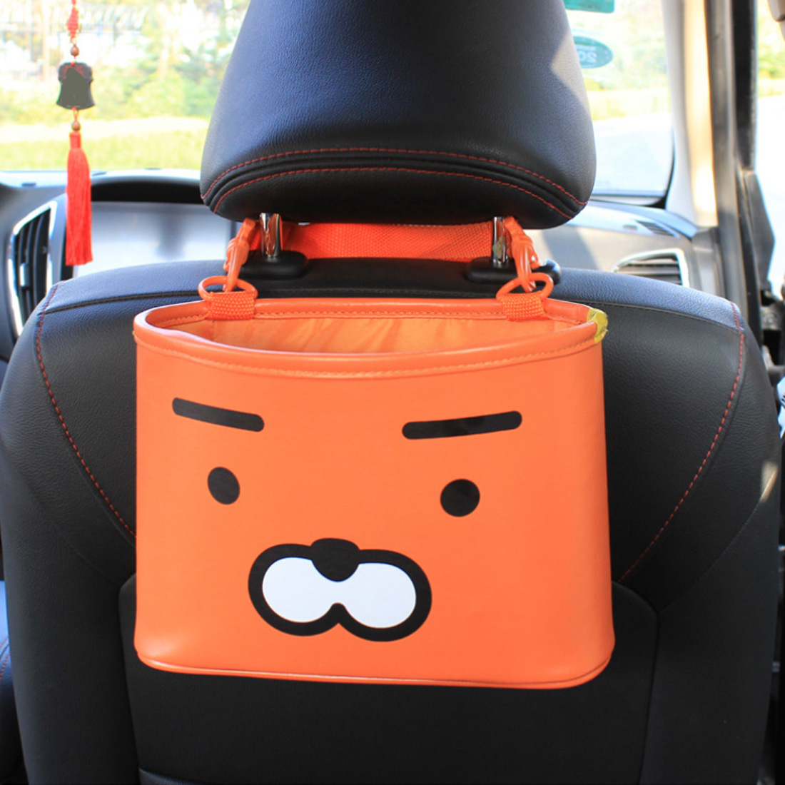 1XUniversal Leather In-Car Seat Back Organiser PAD Holder Multi Pockets Black