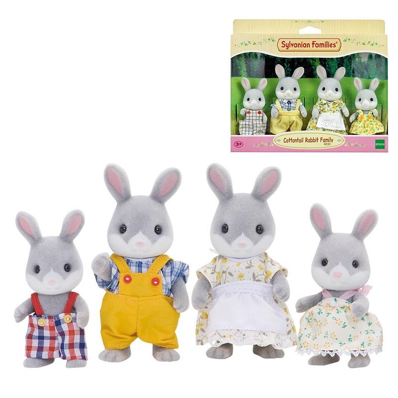 Sylvanian Families Cottontail Rabbit Family Dollhouse 4pcs Figure Set Parents Kids Girl Toy Gift New 41030