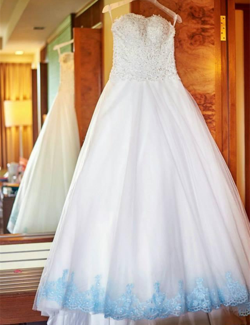 Elegant Style White and Light Blue Wedding Dress Beaded Lace Tulle A ...