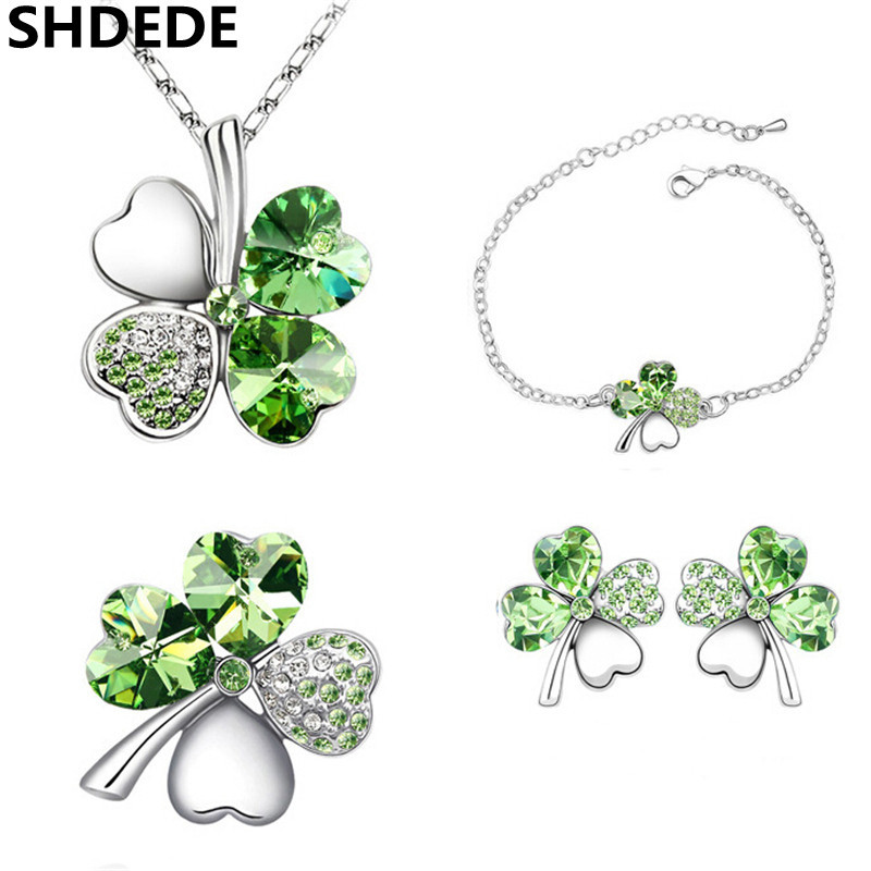 SHDEDE Lucky Four Leaf Clover Jewelry Sets Crystal from Swarovski Elements Heart Necklace Earrings Bracelets Brooches -4300