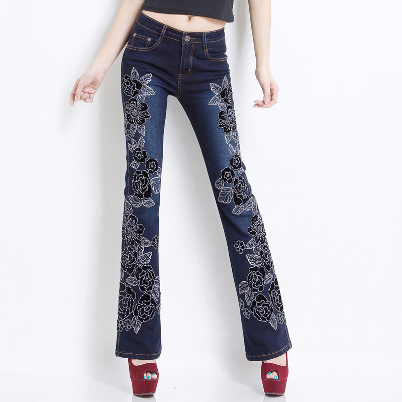 Spring luxury beading embroidered flare jeans female boot