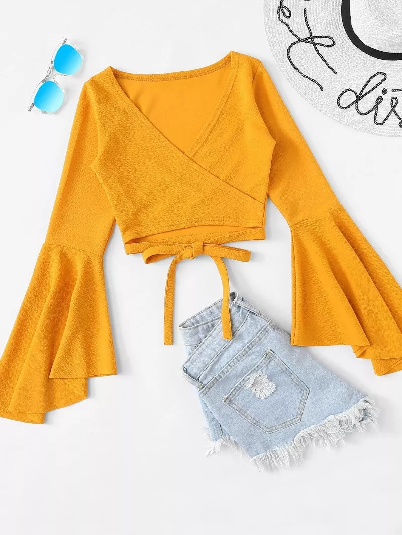 Crop Top T Shirt Women Solid Tshirt Black White Yellow Bandage V Neck Spring Long Sleeve Sexy Casual Camiseta Mujer Tee