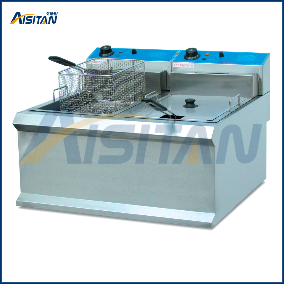 Counter Top Electric Fryer With 2 Tank Basket