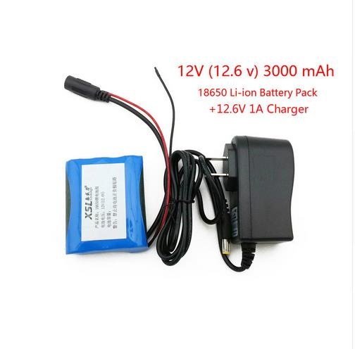 12 V 3000 mAh 18650 Li ion Rechargeable battery and 12.6V 1A Charger cctv camera+ free shopping