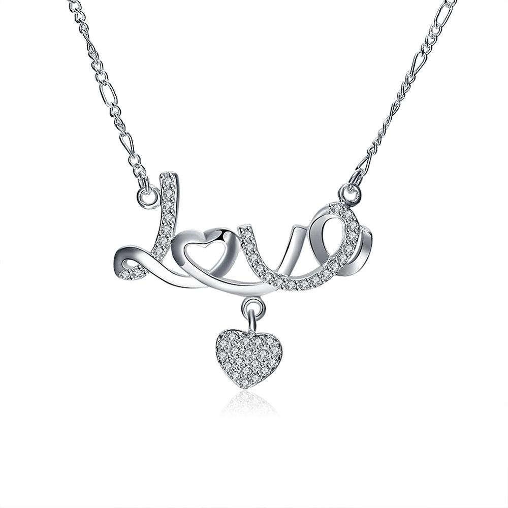 Romantic Promising Love Heart Letter Pendant Necklace Silver Women Neckless Jewelry Forever Love Name Anniversary Gift
