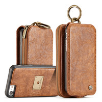 CaseMe Luxury Flip Genuine Leather Case For IPhone 7 Case Multi Function 2IN1 Removable Magnet Back