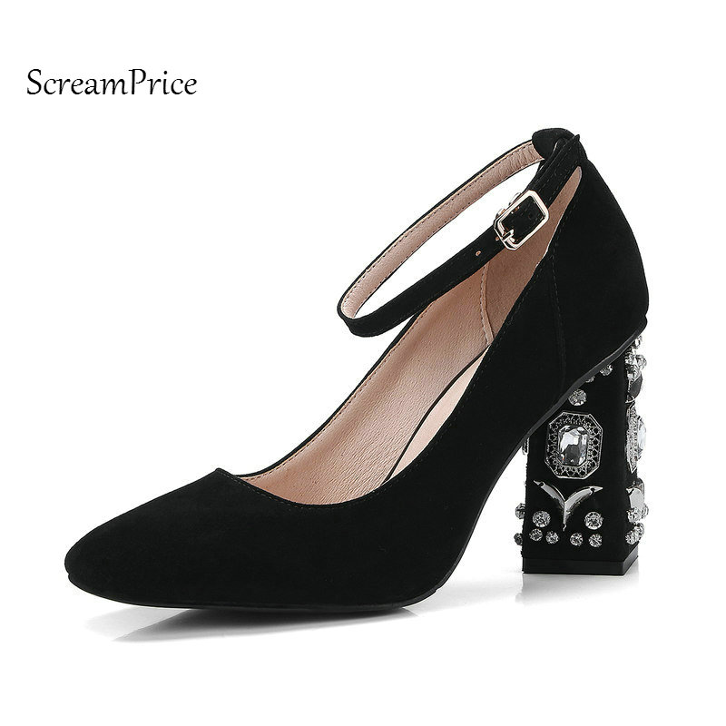 Suede Crystal Thick High Heel Ankle Strap Woman Pumps Fashion Buckle Party High Heel Shoes Square Toe Spring Autumn Shoes Black