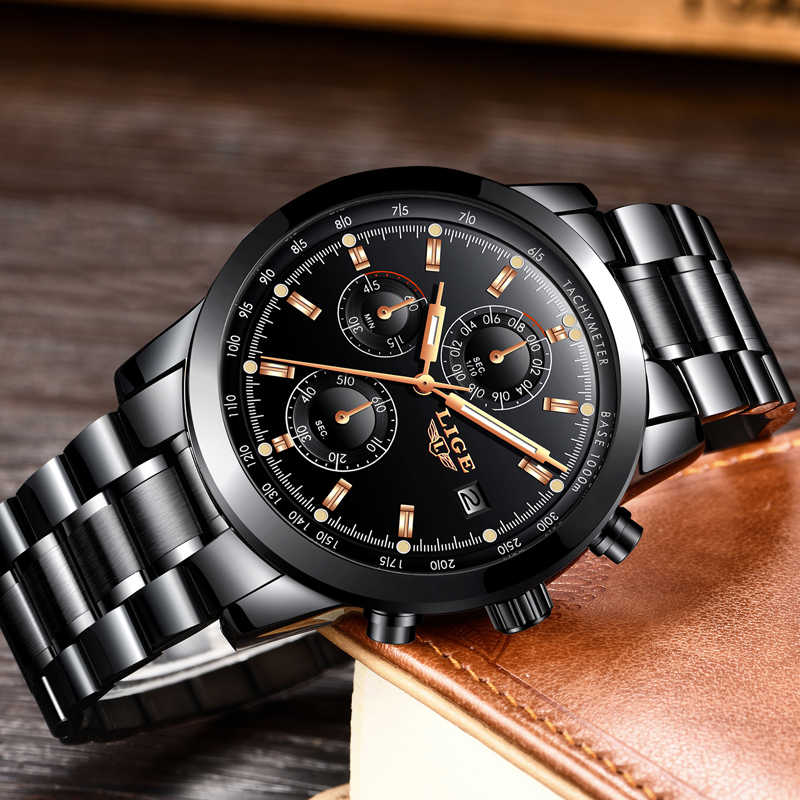 Relojes hombre 2018 새로운 lige mens 시계 톱 브랜드 럭셔리 비즈니스 패션 쿼츠 시계 남성 군사 스포츠 방수 시계 + 박스