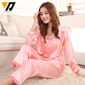 Women Pajamas Sleepwear Silk Satin Pyjamas Spring Autumn Long Sleeves Nightwear Sets Lounging Pants M-3XL