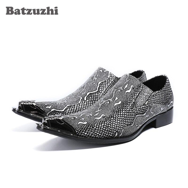 Batzuzhi Luxury Italian Style Men Shoes Pointed Iron Toe Leather Shoes Men Slip on Silver/Gold Leather Dress Shoes Men Formal