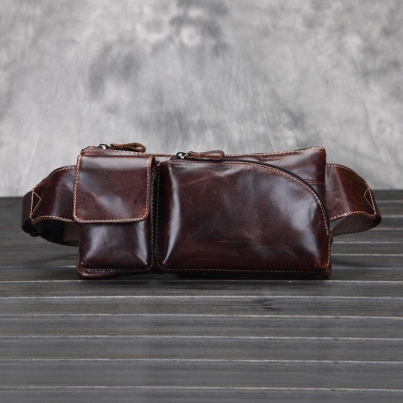 2015 Mode Rétro en cuir véritable hommes de taille sac casual en cuir  véritable sac de messager pour hommes mâle épaule sac taille pack a0350b3fc44