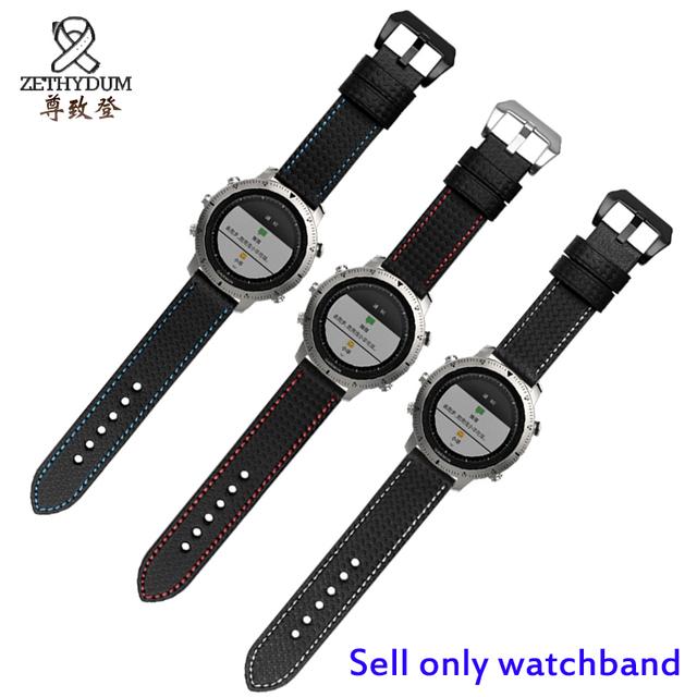 Para garmin fenix chronos 22mm preto fibra de carbono padrão pulseira de couro faixa de relógio de substituição de liberação rápida