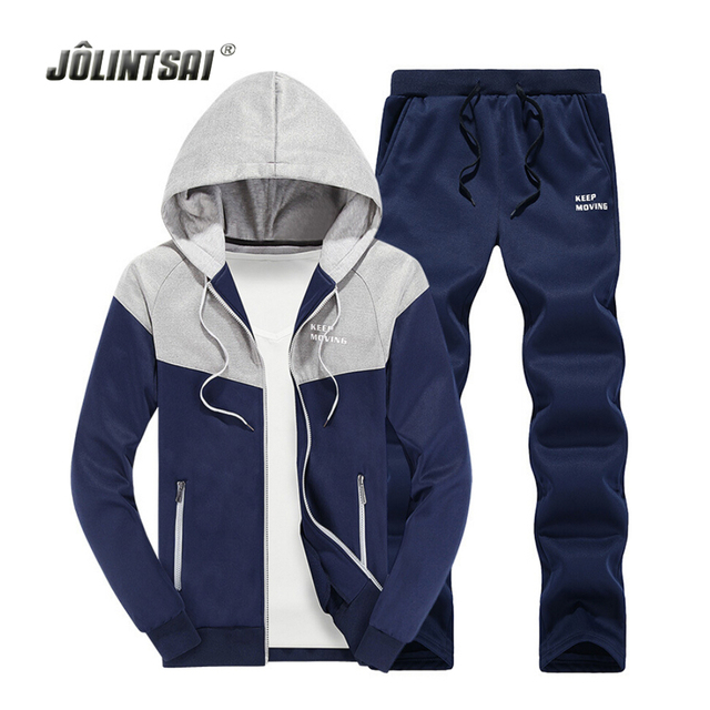 Casual Tracksuit Men XXXXL Hoodies&Sweatershirts+Pants Set 2017 Patchwork Hoody Sweat Suits Men Jacket Sudaderas Hombre