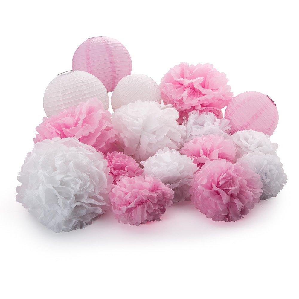 ツ)_/¯16 unids mezclado 8 10 14 blanco/rosa POM poms y linternas ...
