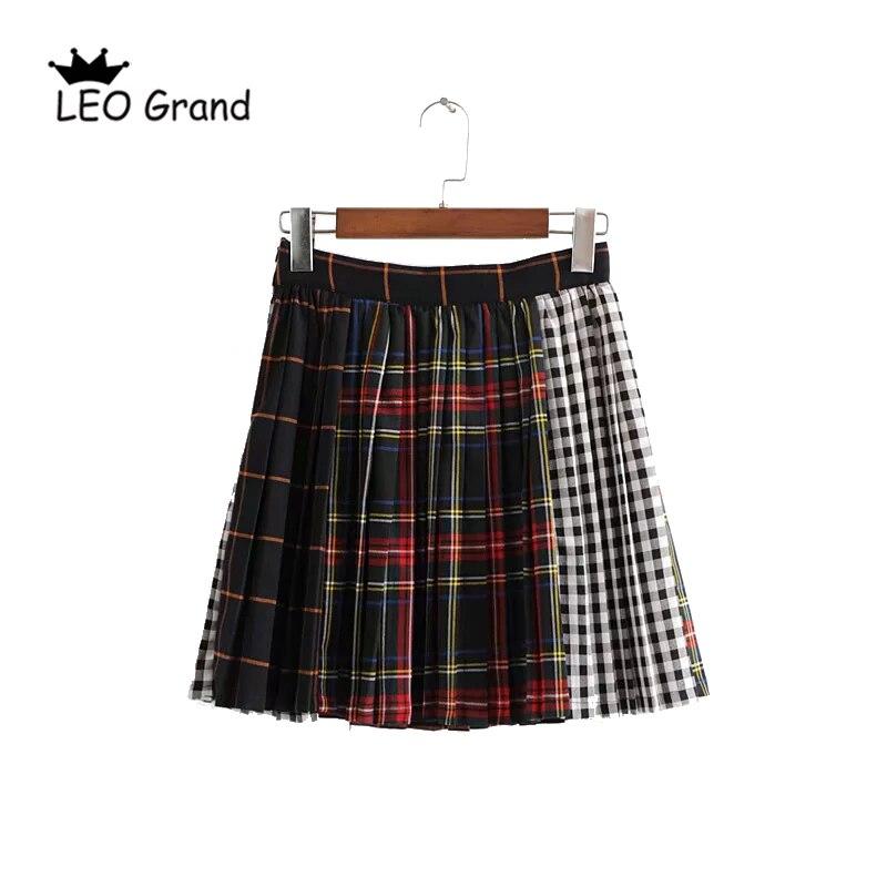 fdbe9862c Vee Top mujeres alta elastica cintura faldas plisadas Plaid estudiantes  faldas escuela desgaste ...