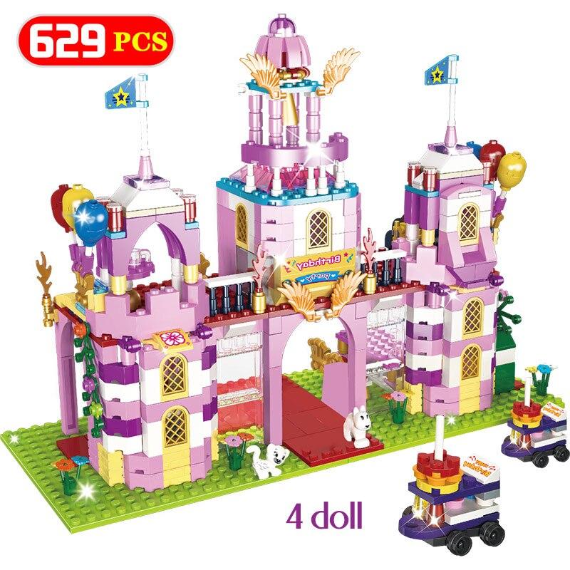 629pcs Romantic Castle Princess DIY Model Building Blocks Legoinlgy Friends Birthday Party Bricks Sets Toys For Girls Kids