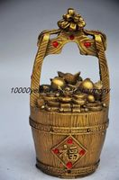 COLLECTION DECORATION CHINESE BRASS FIRST POT OF GOLD STATUE metal handicraft Family decoration crafts gifts toys