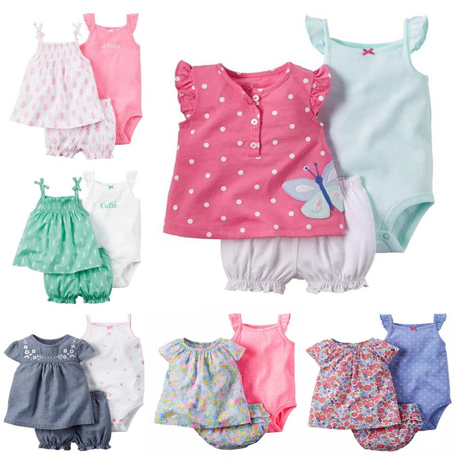 Fashion Summer 2019 Baby Girl Clothes Cotton O-neck Sleeveless Rompers+shorts Clothing Set For New Born Baby Girl Newborn Outfit