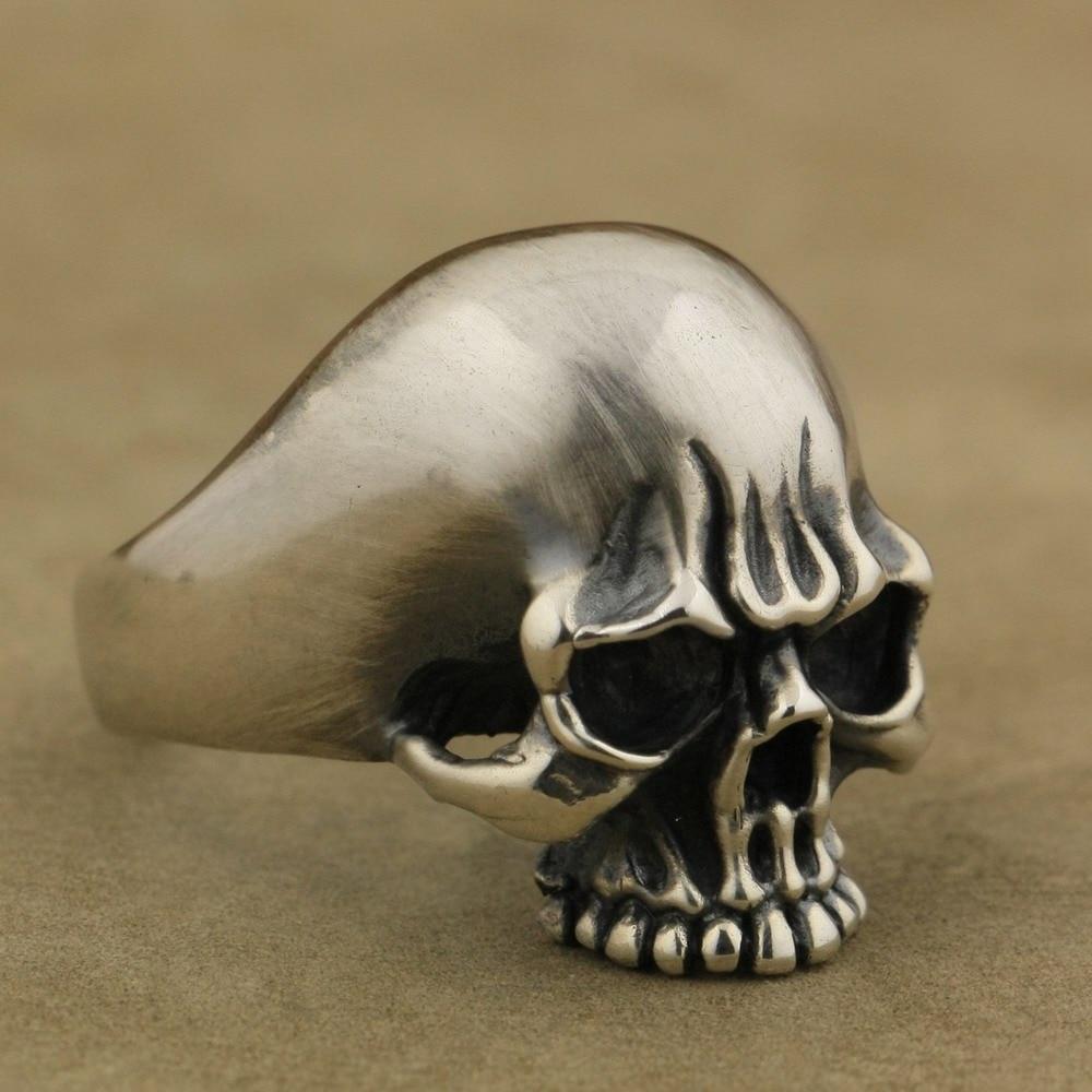 LINSION Handmade 925 Sterling Silver Mens Biker Rock Punk Skull Ring TA60 US Size 7~15 r006 7 skull shaped stylish titanium steel ring silver us size 6