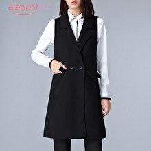 Aelegantmis офисный женский черный повседневный Длинный жилет, женское элегантное пальто с карманами, жилет без рукавов, куртки, верхняя одежда, Женский Тонкий жилет