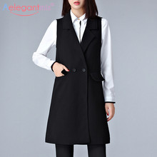Long Vest Jackets Coat Sleeveless Office Casual Outerwear Waistcoat Aelegantmis Black
