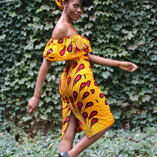 Shenbolen african dresses for women ankara clothing one shoulder dress cotton Print clorhes plus size