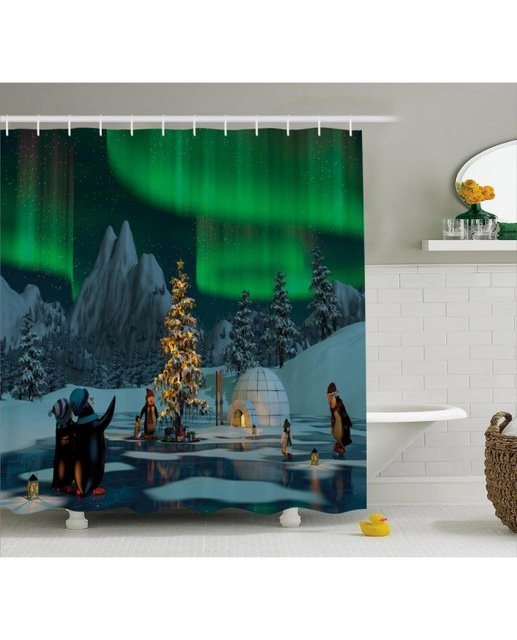 Nature Shower Curtain Penguins On Frozen Lake Print For Bathroom Waterproof And Mildew Resistant Set Hooks