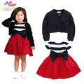 Belababy muchachas que arropan 2017 otoño bebé girls striped bow party dress + chaqueta de manga larga 2 unids niños niñas juegos de la ropa