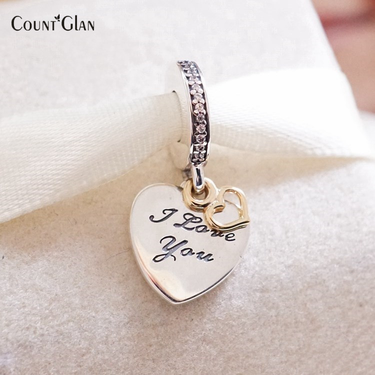 10c922b841706 US $15.2 15% OFF|2017 Valentine's Day 925 Sterling Silver Love You Forever  With Gold Heart Dangle Charms Fits European Bracelet For Women Jewelry-in  ...