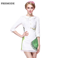 2016 New Women S Sweet Autumn Dress Jacquard Peter Pan Collar Three Quarter Sleeve White Slim