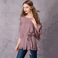 ARTKA Women's 2018 Summer 3 Colors Draped Chiffon Shirt Vintage O Neck Flare Sleeve Shirt With Detachable Sashes SA10775X