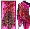 Envío Gratis Hot Pink Señoras de Terciopelo de Seda Bordado Con Cuentas Bufanda Del Mantón Peafowl WS-092