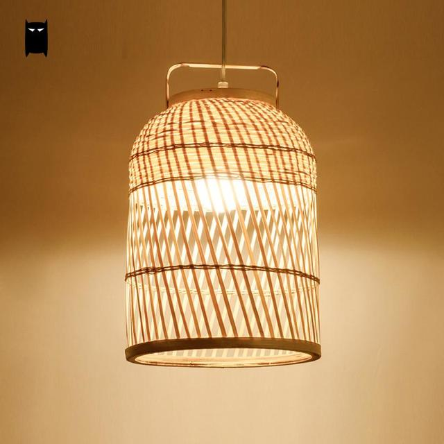 Hand Woven Round Bamboo Wicker Rattan Cage Shdae Pendant Light Fixture Asian Cottage Ceiling Suspended