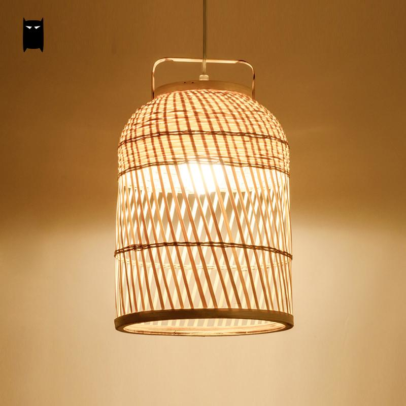 Hand-woven Round Bamboo Wicker Rattan Cage Shdae Pendant Light Fixture Asian Cottage Ceiling Suspended Lamp Luminaria Design
