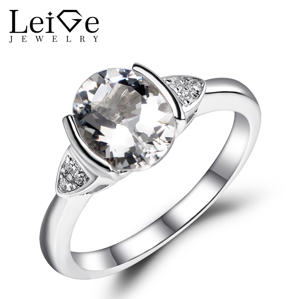 Leige Jewelry White Topaz Ring Natural Gemstone Oval Cut 925 Sterling Silver Wedding Engagement Rings for Women Fine Jewelry leige jewelry oval shaped smoky quartz ring 925 sterling silver wedding engagement halo rings for women oval gemstone jewelry