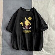 Camisetas de hombre moda Hayvan Pikachu estampado Hipster divertida camiseta hombres verano Rahat calle hip hop Camiseta Hombre