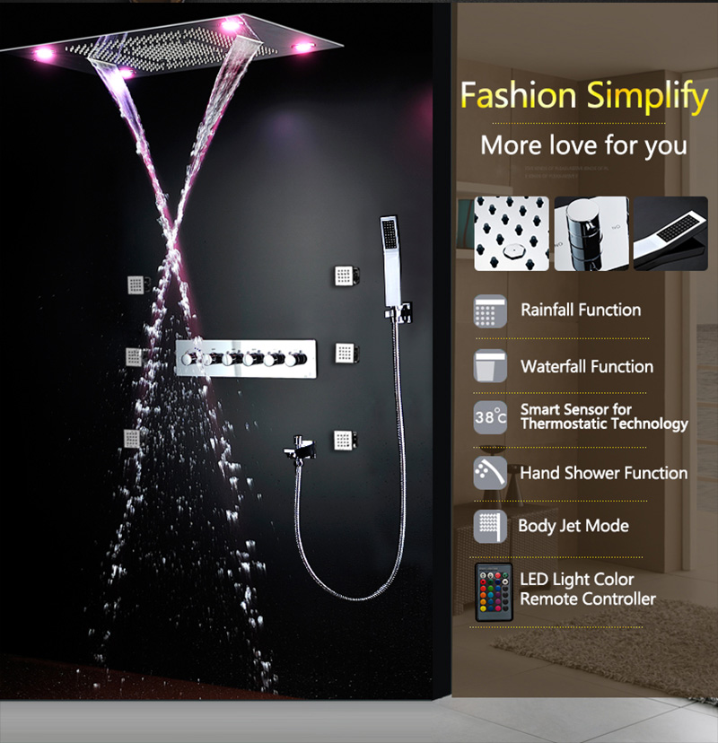 Bathroom Fixture Shower Faucets Ceiling Mounted Waterfall Mist Shower Head Big Rain LED Shower Set High Flow Thermostatic Bath (28)