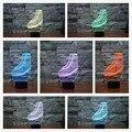 Creativa lámpara de noche de luz led de 7 colores que cambian la ilusión 3d zapatos de patinaje diseño novelty decoración de acrílico luz del regalo de cumpleaños