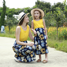 2019 Summer Casual Dress Mother And Daughter Clothes Sleeveless Sun flower Dresses For Holiday Beach